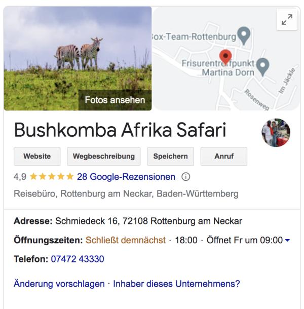Google Bewertungen Bushkomba