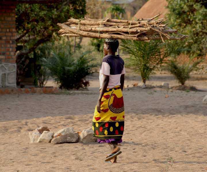 Nyasasee eine Frau die schweren Holz auf dem Kopf trägt